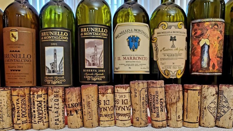 An impressive lineup of corks of twenty year old wines cover