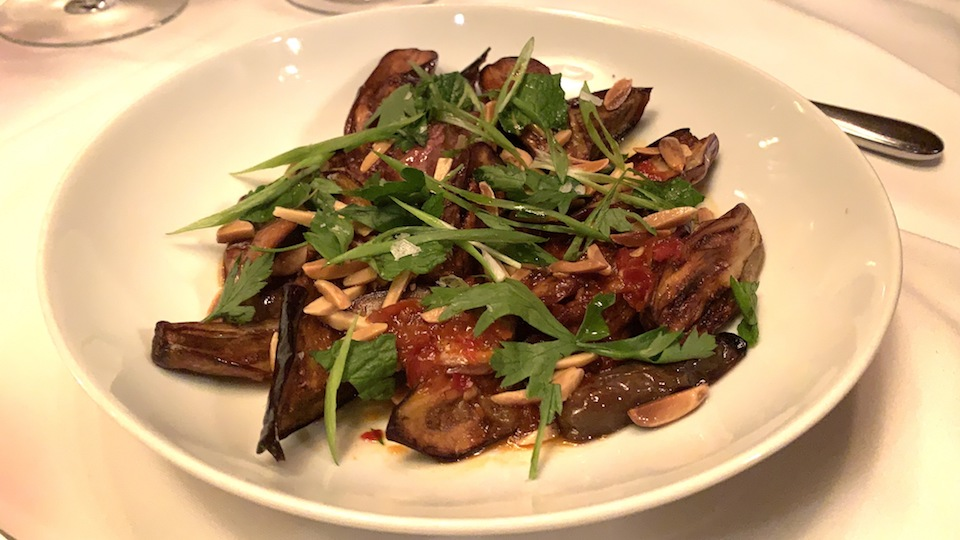 Spicy fairy tale eggplant  toasted almonds  calabrian chili  mint