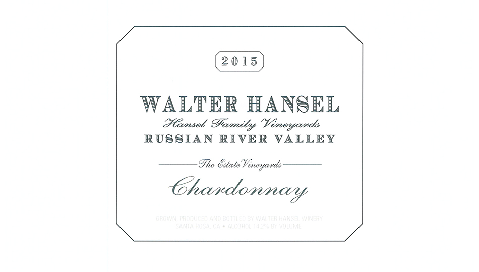2015  Walter Hansel Chardonnay The Estate Vineyard ($25.00) 90