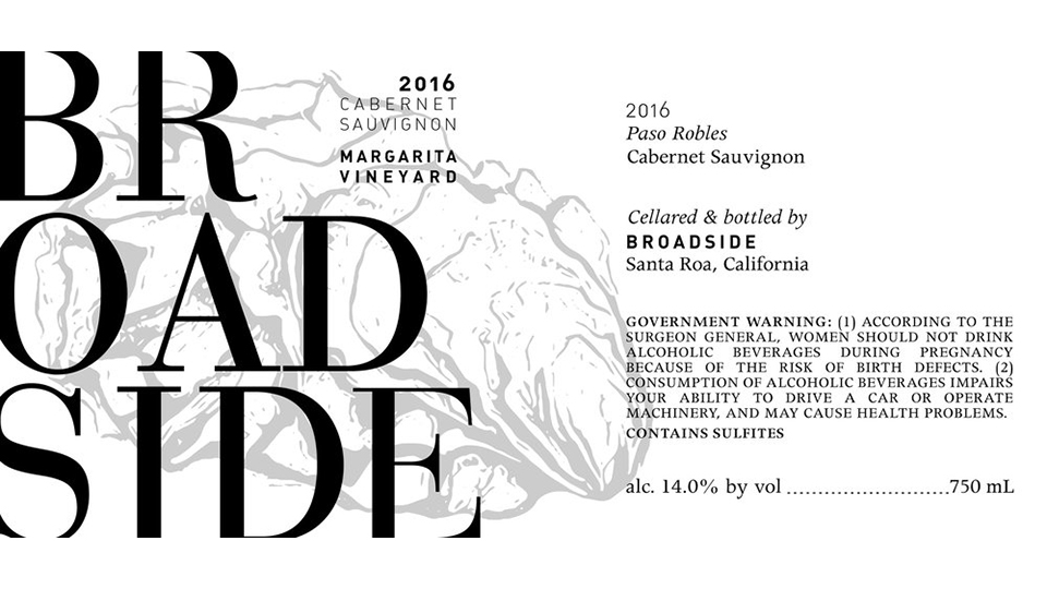 2016 Broadside Cabernet Sauvignon Margarita Vineyard ($25.00) 90