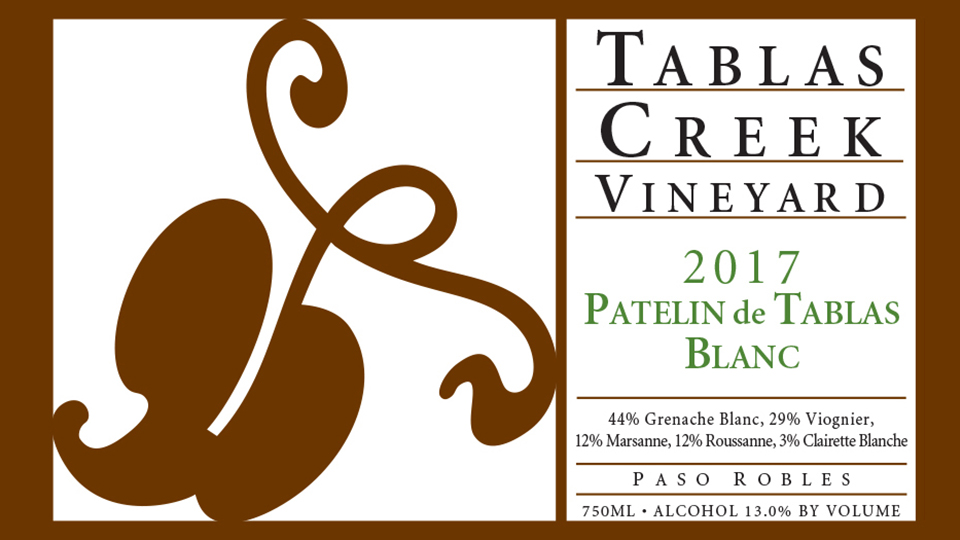 2017 Tablas Creek Vineyard Patelin de Tablas Paso Robles Blanc ($25.00) 91